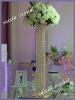 Beautiful brass pillar crystal flower stand for wedding table decoration
