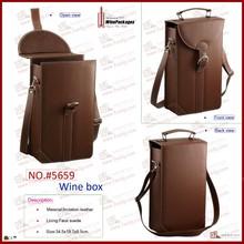 Dual leather wine bottle holder shoulder carrier bag