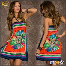 New Sexy Women's Floral Sleeveless Boho beach dress beach wear Sundress evening dress short OEM supplier China