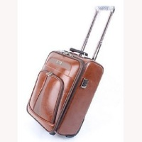 customized high quality airport travel vintage genuine leather wheels suitcase trolley luggage