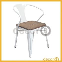 Modern Furniture Cafe Industrial Loft Metal Wood Top Armrest Dining Chair