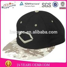 24years custom experence produce 3D embroidery logo black hat camo brim snapback cap