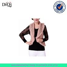 OEM women's knitted woolen fur waistcoat, waistcoat fur design wholesale,cheap fur waistcoat