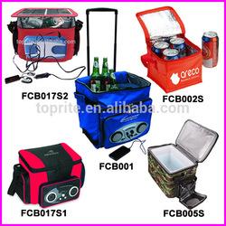 Insulated Cooler Bag/Wine Cooler Bag/Wheeled Music Bluetooth Radio Speaker Rolling Cooler Bag