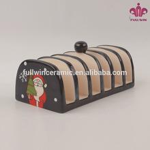 Santa shape ceramic napkin stand