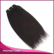 Premier Hair 16inch Virgin Indian Remy Cheap Human Hair Weaving Kinky Straight Hair Weaving