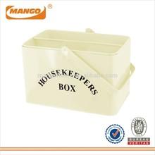 RETRO STYLE ENAMEL HOUSEKEEPING BOX CLEANING TOOLS TIDY STORAGE BOX BIN