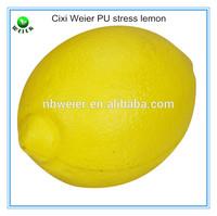5.3x7.3cm lemon shape PU stress ball/soft toy PU foam lemon for kids&adults/fruits soft foam PU stress lemon