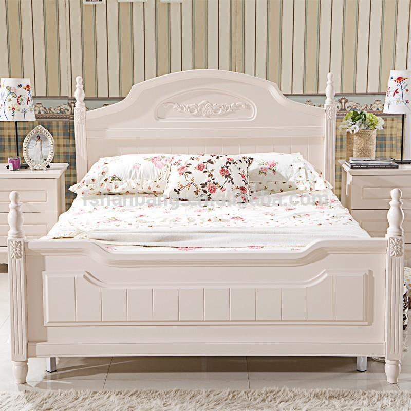 Moderne witte pastorale stijl houten bedden en slaapkamer meubilair dubbel bed twin bed - Tiener slaapkamer stijl ...
