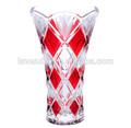 Pintado a mano de vidrio florero de cristal en forma de flor florero del florero del pavo real