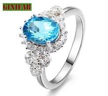 925 Sterling Silver rings for women big blue CZ stone 925 Sterling Silver rings for women fashion rings fine jewelry