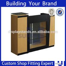 fashion wood glass clothes shop cashier counter desk