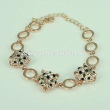B536 Gold tone fashion jewelry bronze leopard bracelet china manufacturer crystal double leopard bracelet Wholesale bracelet