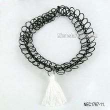 Vintage black handmade sexy stretch hippy henna tattoo choker collar tassel necklace