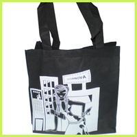 white printing Organ Bag black Non Woven Bag Gusset Bag