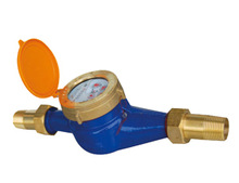 Multi-jet cast iron body water meter with brass connectors