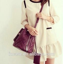 Hotsale drawstring metallic pu leather medium shoulder bag for women