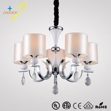 GZ40218-5P candle chandelier hanging lamp&lighting 5 arms fabric lamp shades pendant light