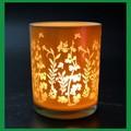 Oro de lujo tealight titular de la vela de vidrio con la flor de la boda