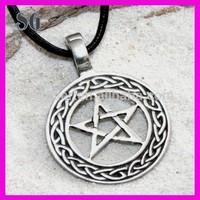 Silver PEWTER Moon PENTAGRAM Pentacle Necklace PENDANT