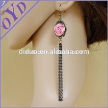 Fashion alloy dangle earrings, long tassel earrngs
