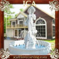 Outdoor garden white hand carved statue natural marble fountain