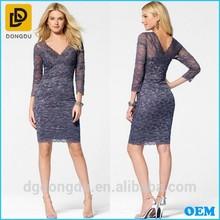 Latest Design Women Long Sleeve Lace Office Dress