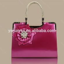 2014 china wholesale hard rose red patent leather floral handbag