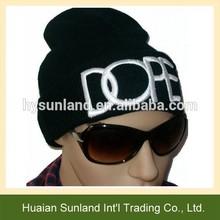 W-676 fall winter unisex fashion beanie hand knit black white text knit hat