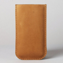 Genuine Calfskin Leather Cell Phone Pouch Bag Custom Mobile Cover for iPhone