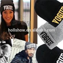 New Winter Popular Letter VOGUE Unisex Women Men Knitted Beanie Hat and Cap