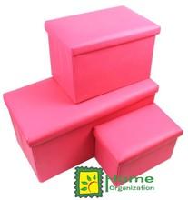 PVC shoe storage bench, solid pink