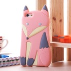 Free Shipping Novelty Lovely 3D Silicone Cartoon animal Fox soft cover Case for iPhone 4 4S iphone4,50pcs/lot