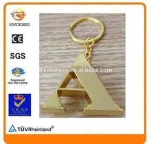 zinc alloy metal English alphabet A Letter C gold keyring
