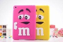 3D Cute Silicone Kids M&M Chocolate jelly Bean Cover Case for ipad 2/3/4,50pcs/lot