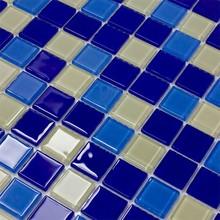 Golden foil crystal glass color mix mosaic bathroom cheap