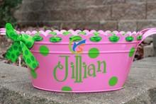 Hot Pink Oval Metal Tub/Bucket with Monogram