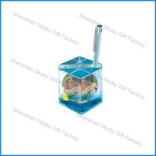Plastic Custom Floating Pen Holder Photo Snow Globe