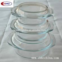 3pcs Round Glass Casserole Set With Glass Lid