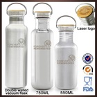 2015 Hot new novelty customized branded logo sport drink double walled stainless steel swell water bottle with bamboo lid