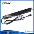1U 1.5U 8 salida IEC320 C13 socket con C14 conmutador de la bujía y protección de sobrecarga