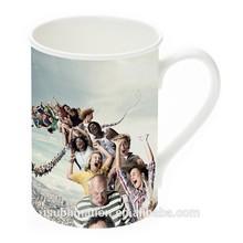 Curled rim sublimation blank bone china mug