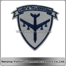 custom blue white new flight design badge embroidery