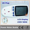 Reino unido plug digital medidor de energia solar com lcd para monitoramento de energia, hz, kwh, tensão, atual de aparelhos( uk plug)