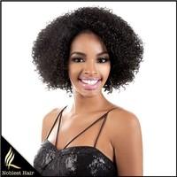 comfort cap short 1b# color Afro kinky curl brazilian virgin human hair machine made weft glueless capless wigs
