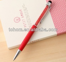 Promotional customized logo pink crystal pen