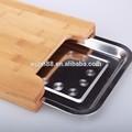 2015 new style bambou planche à découper avec plateau en acier inoxydable