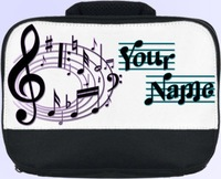 MUSICAL NOTE'S PERSONALISED SCHOOL NURSERY LUNCH BOX / SANDWICH BAG *NAMED GIFT*