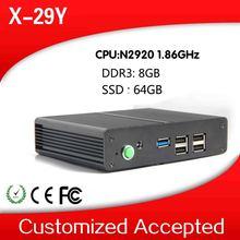 small but best quality fanless celeron quad-core pc x-29y n2920 network pc 8g ram 64g ssd win8 64 bit mini tablet pc