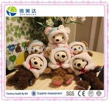 Adorable Classical Plush Teddy Bear Love Heart Under Feet with Shawl Toy